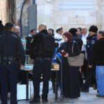 The Israeli police search Muslim worshipers, women, in particular, seizing their ID cards