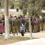 Large numbers of Israeli Military Officers prepare themselves to enter into Al-Aqsa Mosque Al-Haram Al-Sharif