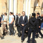 MK Moshe Figlen leading groups of Jewish extremists to enter Al-Aqsa Mosque/ Al-Haram Al-Sharif under the protection of Israeli police