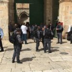 IOA and police enable a group of Jewish extremists to practice their Talmudic Prayers next to Bab Al-Silislah inside Al-Aqsa Mosque/Al-Haram Al-Sharif