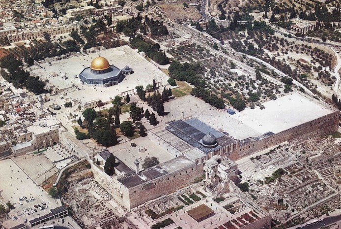 Al-Aqsa Mosque / Al-Haram Al-Sharif is shown in the photo below with its area size of 144 dunums