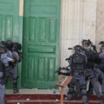 The IOA Security Forces damaged the doors and windows of the Qibli Mosque / Al-Jame' Al-Aqsa during military incursions