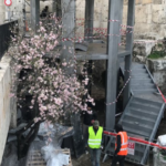 Concrete and metal watchtowers changing the historic facade of the Damascus Gate
