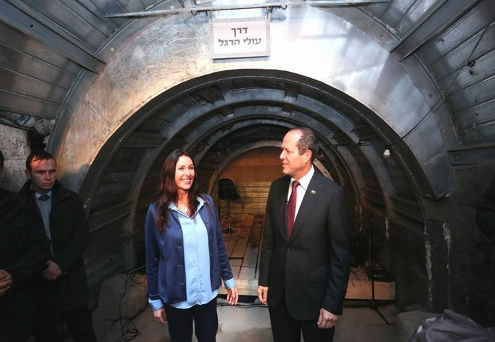 Silwan Tunnel Opening by the Mayor of Jerusalem Nir Barkat (right) and Israeli Culture Minister Miri Regev